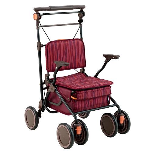 ★[幸和製作所]カゴノアL レッド SLT08[送料無料]/介護用品/シルバーカー/歩行補助/座りやすい