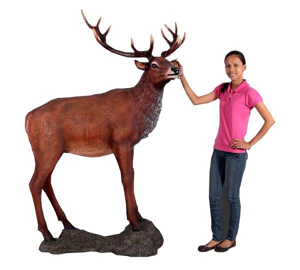 大鹿 / Red Deer Stag on BaseFRP 耐水 軽い 強い 屋外用塗装 ガーデンファニチャー 置物 インテリア オブジェ 送料無料
