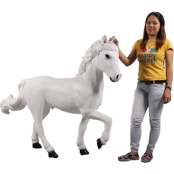 仔馬の白馬 / Horse 4H - Stap WhiteFRP 耐水 軽い 強い 屋外用塗装 ガーデンファニチャー 置物 インテリア オブジェ 送料無料