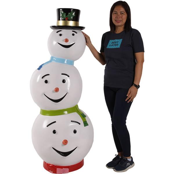 トリプルヘッドスノーマン / Triple Headed SnowmanFRP 耐水 軽い 強い 屋外用塗装 ガーデンファニチャー 置物 インテリア オブジェ 送料無料