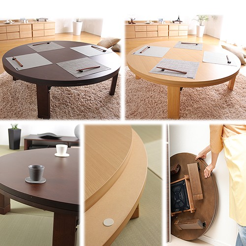 天然木丸型折れ脚こたつ 120cmこたつテーブル円形  02P03Dec16