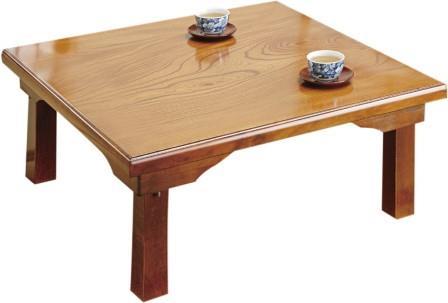 ケヤキの美しい木目を活かした国産折れ脚座卓 75×75【メーカー直送・代引き不可・北海道・離島は送料別途】
