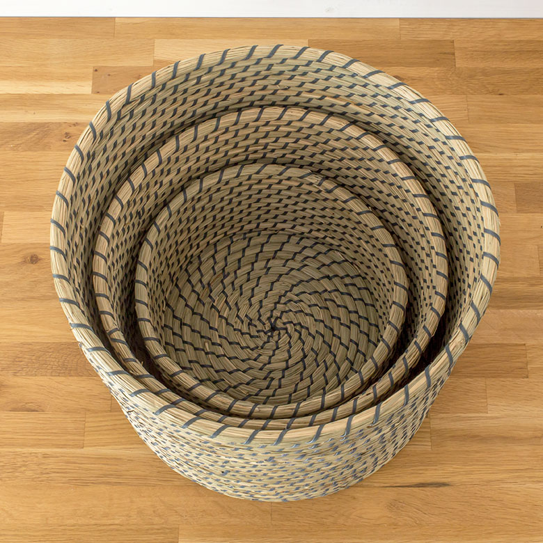 Seagrass With Lid Round Basket S 3 Pieces Set Vn50575 02p08feb15