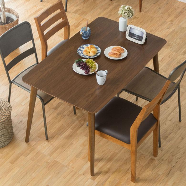 ダイニングテーブル 4人掛け 長方形 木製 幅120cm 高さ70cm ウォールナット ブラウン 91189 【 ダイニング キッチン テーブル 4人用 カフェテーブル 食卓 北欧 西海岸 シンプル おしゃれ ナチュラル ミッドセンチュリー 】