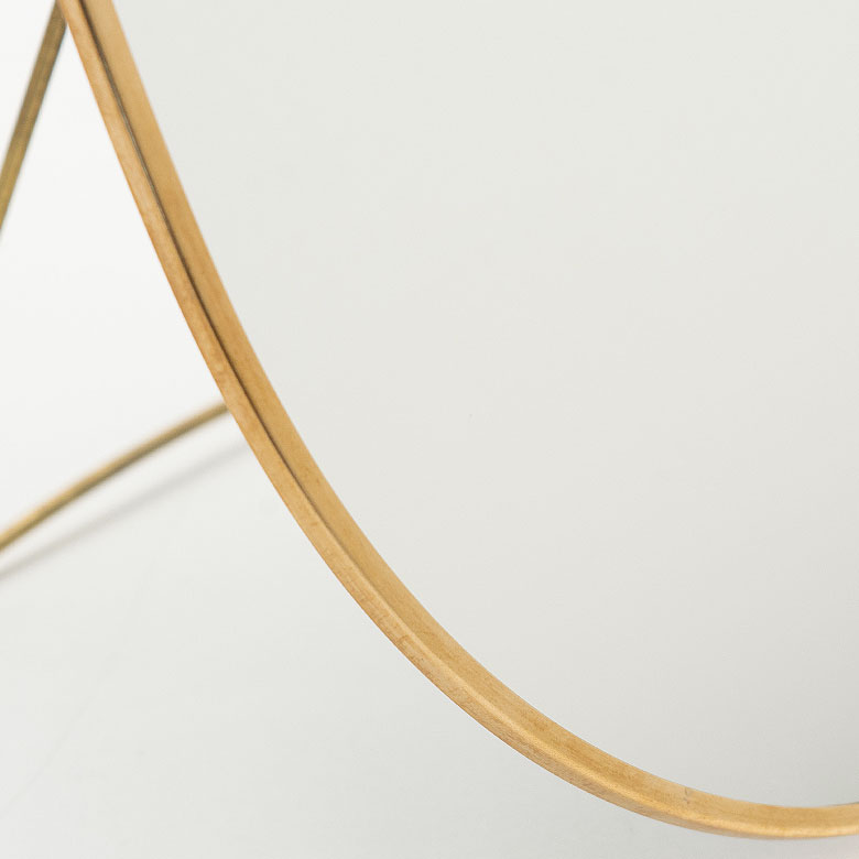 卓上ミラー オーバル型 真鍮フレーム [66715]【 スタンドミラー 鏡 かがみ カガミ ミラー 卓上鏡 テーブルミラー アンティーク調 コンパクト 楕円型 化粧鏡 おしゃれ 可愛い メイクアップミラー シンプル 軽量 インテリア雑貨 西海岸 】