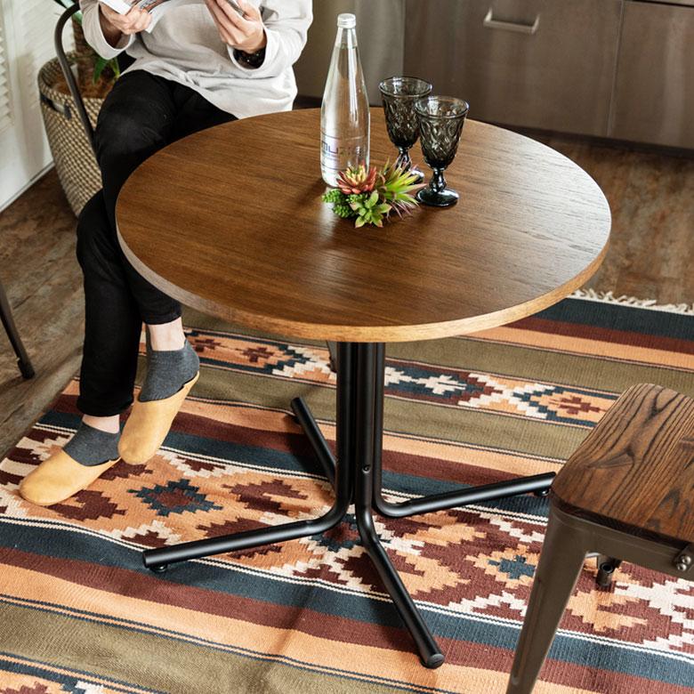 カフェ風テーブル 木製 スチール ブラウン ラウンド 直径80cm [91359] 【 カフェテーブル ダイニングテーブル カウンターテーブル 食卓 一本脚 丸形 2人掛 2人用 おしゃれ カフェ バー 飲食店 レストラン 西海岸 北欧 】