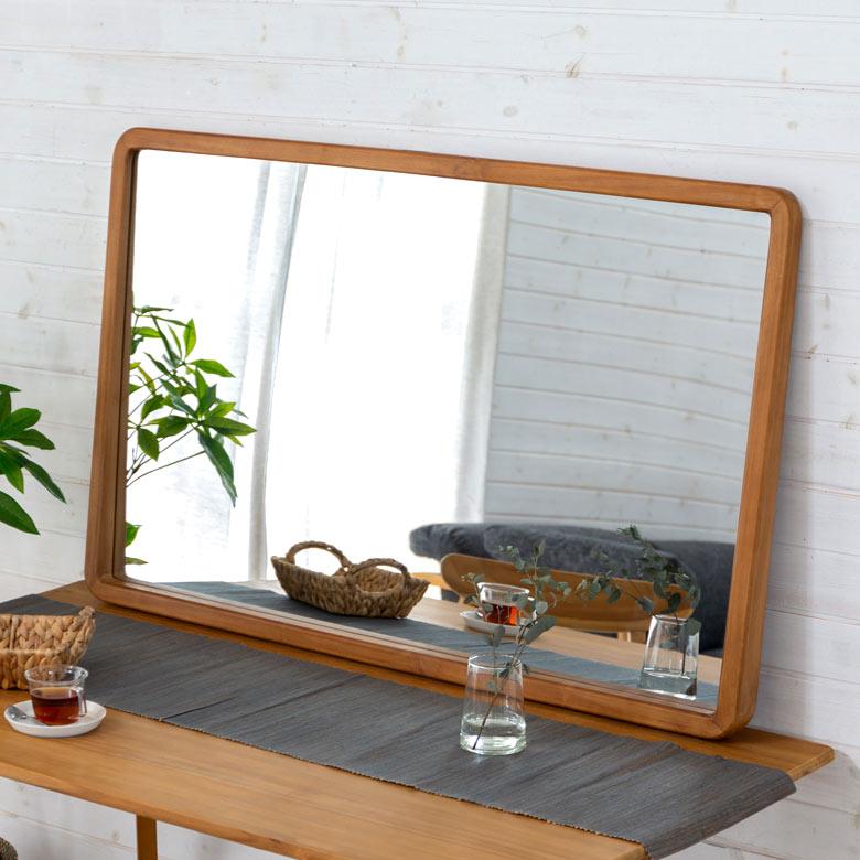 【割引クーポンあり】天然木製 壁掛けミラー 「TAKE TEAK」 [13736] 【ドレッサー 鏡台 ミラー 鏡 メイク台 ミッドセンチュリー レトロ モダン シンプル 北欧 化粧台 チーク材 おしゃれ アメリカン 家具】
