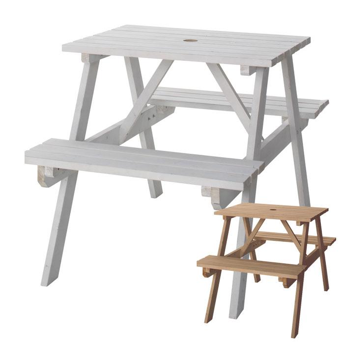 【割引クーポンあり】テーブル&ベンチ アウトドア 天然木 白 2人掛け [91233-br 91233-wh]【 ガーデンファニチャー ガーデンテーブル ガーデンセット ガーデンチェア ガーデン家具 屋外 木製 】