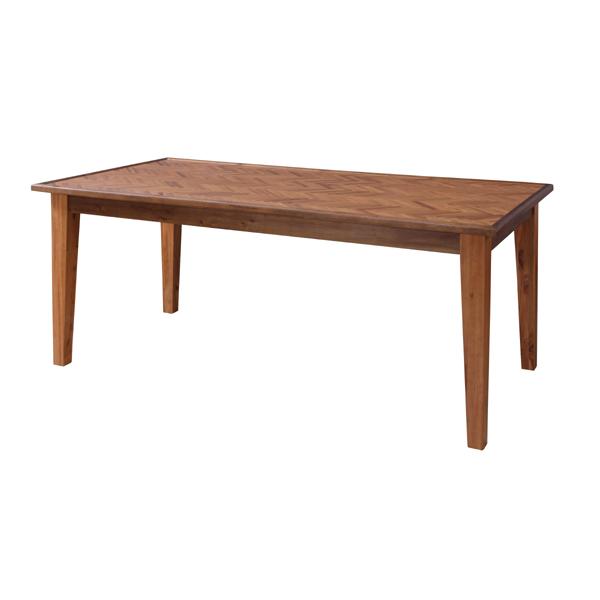 ダイニングテーブル 6人掛け 幅180cm 天然木 ヘリンボーン柄 組立品 [91260]【 テーブル 食卓 食卓テーブル 木製 西海岸 北欧 おしゃれ ヴィンテージ 】