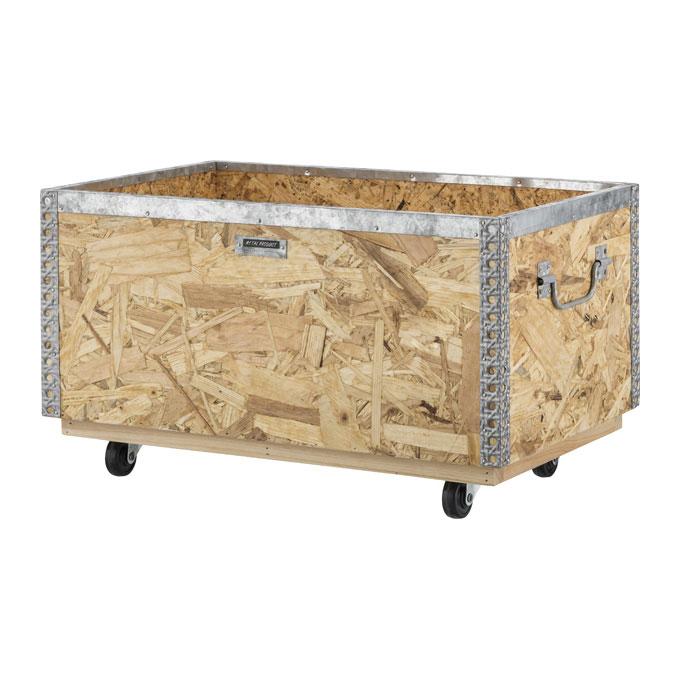 ウッドボックス 木箱 キャスター付き Lサイズ 深型 [91269]【 収納ボックス 収納箱 積み重ね スタッキング 取っ手付き アンティーク調 プランター おしゃれ 】