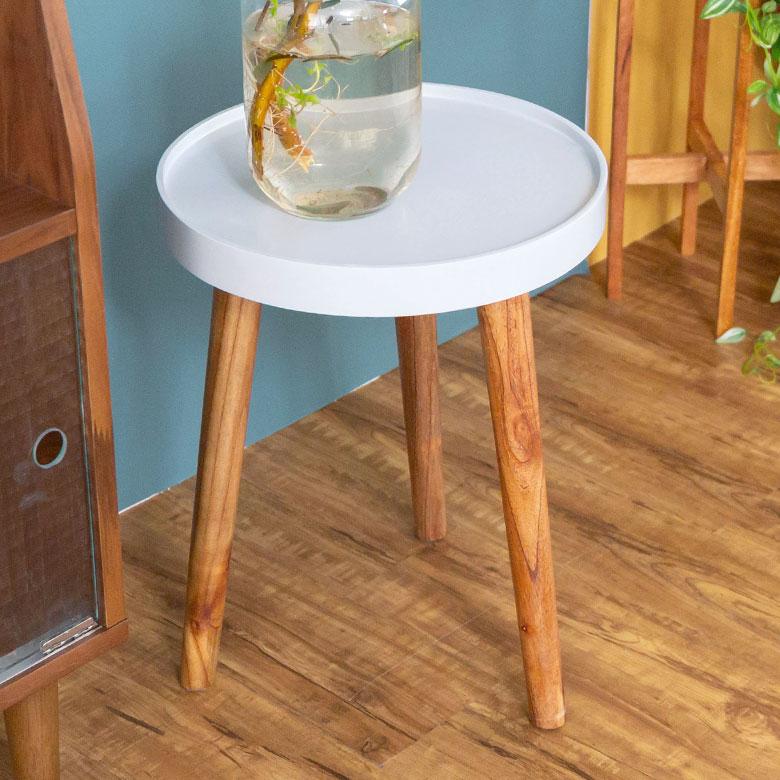 テーブル 円形 木製 直径35cm ホワイト [91400]【 トレー コーヒーテーブル サイドテーブル おしゃれ レトロ インテリア 天然木 】