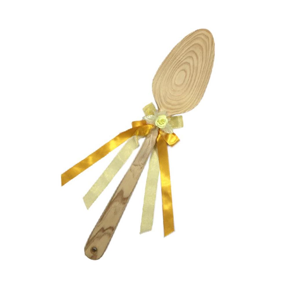 ファーストバイトに! ビッグウエディングスプーン 誓いのスプーン クリア 60cm 黄色リボン 代引き不可