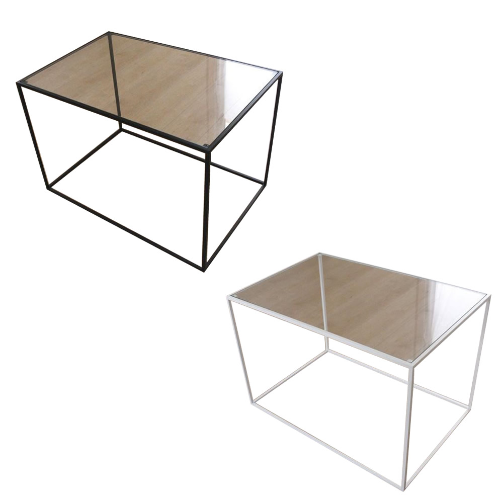 トレイテーブル サイドテーブル 600×400mm ガラス 代引き不可