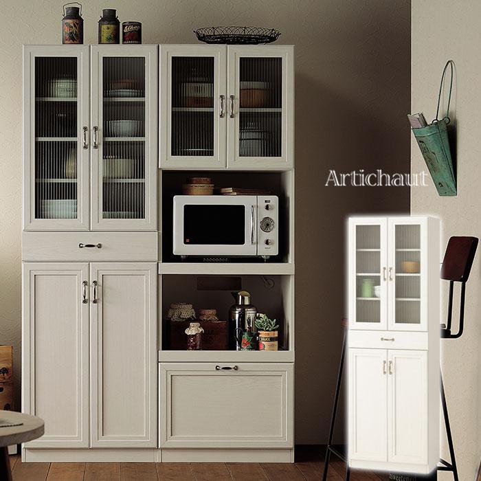 食器棚 スリム 薄型 カップボード キャビネット 白 木製 パントリー おしゃれ 収納 収納棚 キッチン収納 60cm ガラス扉 ホワイト ストック 食品 キッチン