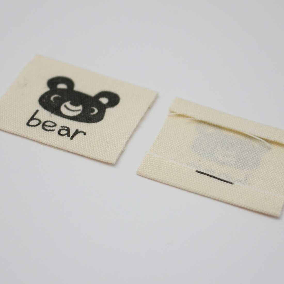 両端折 布タグ [クマ 柄][32×28mm] [10枚パック] sgy-1490【メール便可】(手芸用パーツ ワンポイント 布タグ 手芸 パーツ ハンドメイド 材料 副資材 布タグ タグ タグテープ tag ナチュラル 熊 くま bear)