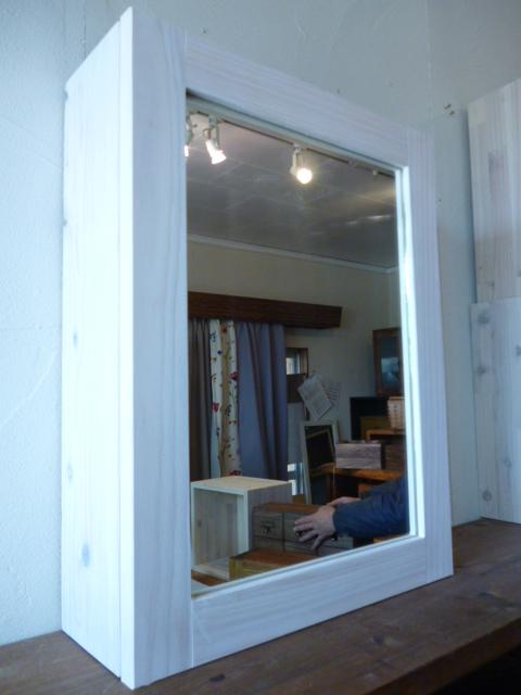 洗面収納棚・鏡☆白色☆ミラーキャビネット
