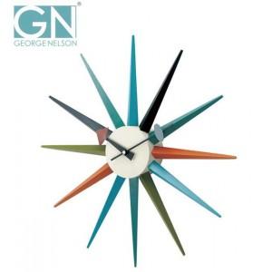 【送料無料】デザイナーズ掛時計!George Nelson ジョージ・ネルソン 壁掛け時計 サンバースト・クロック カラー GN396C
