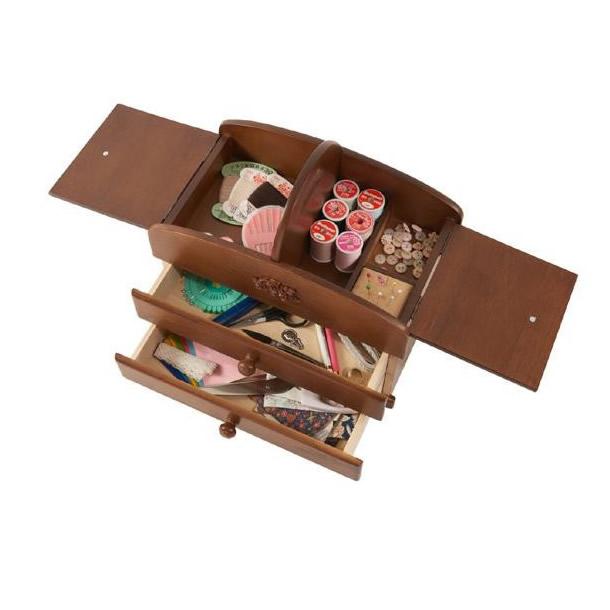 【送料無料】裁縫道具入れ 収納ケース!茶谷産業 日本製 木製ソーイングボックス 020-301