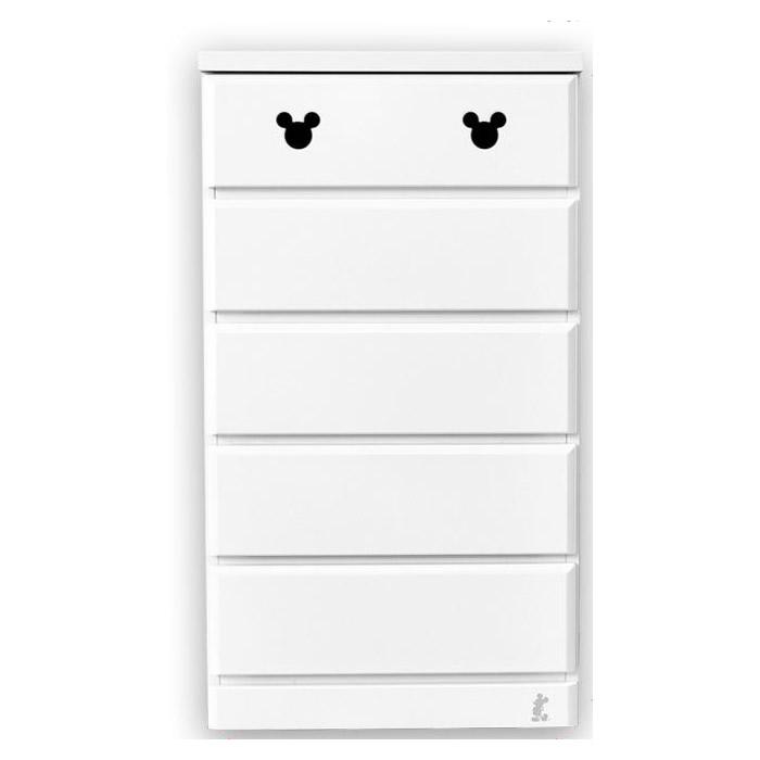【送料無料】ミッキー タンス 収納家具!ディズニー 収納チェスト エスター 幅60・5段 ホワイト