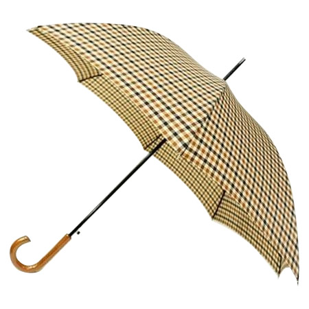 【送料無料】雨傘 60cm 8本骨!日本の職人手作り 先染格子ジャンプ傘 茶(ブラウン)