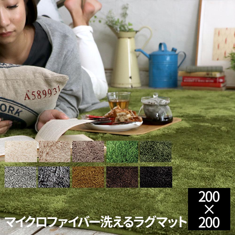 【送料無料】床暖対応 ホットカーペット対応 カーペット!EXマイクロファイバー洗えるラグマット 200×200cm
