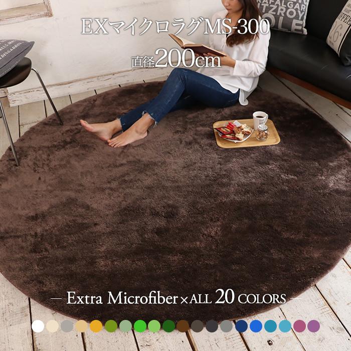 【送料無料】床暖対応 ホットカーペット対応 カーペット!EXマイクロファイバー洗えるラグマット 円形 直径200cm