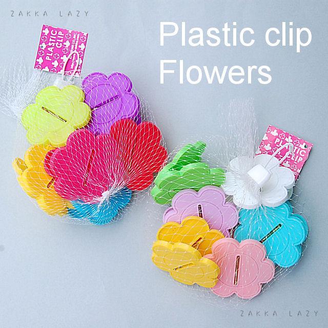 『プラスチッククリップセット 6pcs フラワー』クリップ 洗濯バサミ 洗濯バサミ フラワー お花 花 ステーショナリー 文具 ばらまき