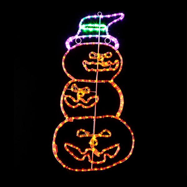 送料無料 LEDチューブライト 3連パンプキン ハロウィン Halloween おばけ かぼちゃ カボチャ ゴースト パンプキン モンスター ホラー ナイト 電飾 装飾 飾り ディスプレイ イルミネーション 販促 パーティー イベント バザー ビンゴ 子ども会 プレゼント 景品 雑貨