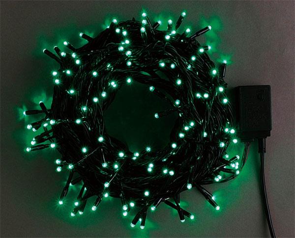 送料無料 200球広角LEDライト 緑 コードカラーブラック クリスマスイルミネーションLED200球 子ども会 子供会 お祭り問屋 おもしろ雑貨 ザッカ ビンゴ景品 バザー