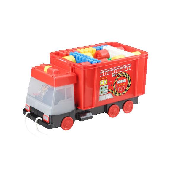 送料無料 おもちゃ箱 消防車凸凹ブロック51ピース付き 知育 知育玩具 保育園 幼稚園 創造力 立体 オモチャ おもちゃ パズル パズルおもちゃ レゴ レゴブロック おもしろ雑貨 ザッカ ビンゴ景品 バザー