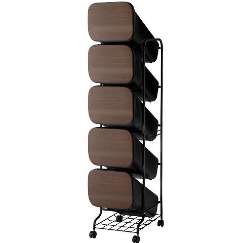 【メーカー直送】 縦型分別ゴミ箱 smooth スタンドダストボックス 5段 ウッド(本体の色ブラック) キャスター付 【送料無料】一部地域除く