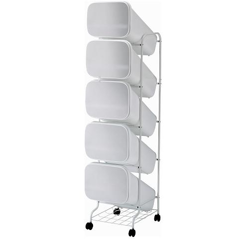 【メーカー直送】 縦型分別ゴミ箱 smooth スタンドダストボックス 5段 メタル(本体の色ホワイト) キャスター付 【送料無料】一部地域除く