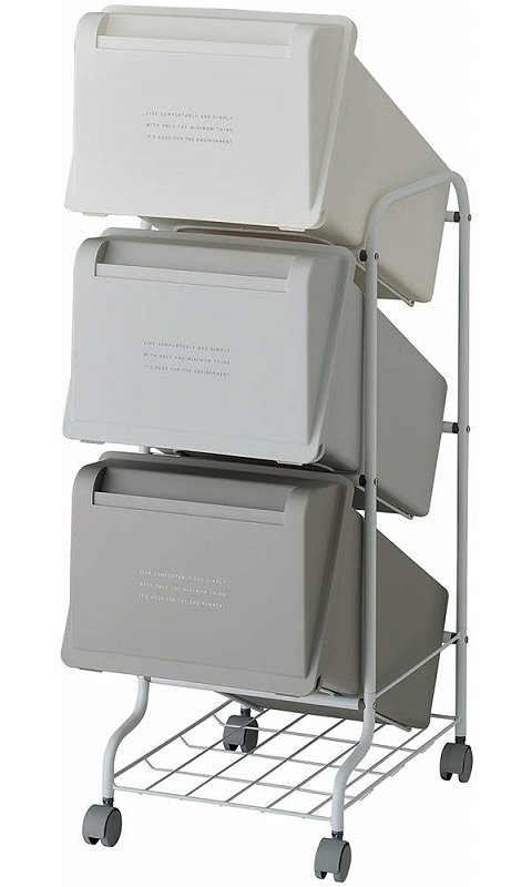 【メーカー直送】 縦型分別ゴミ箱 コンテナスタイル5 CS5-60 カラーMX6 総容量63L(21L×3) キャスター付 【送料無料】一部地域除く