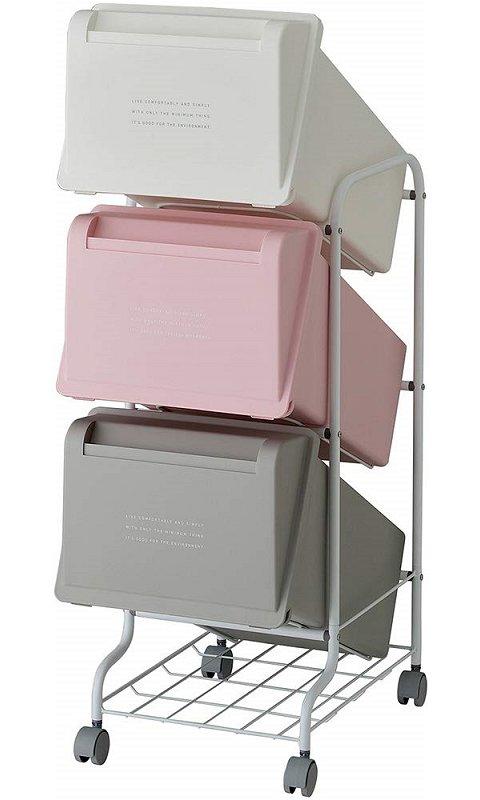 【メーカー直送】 縦型分別ゴミ箱 コンテナスタイル5 CS5-60 カラーMX7 総容量63L(21L×3) キャスター付 【送料無料】一部地域除く