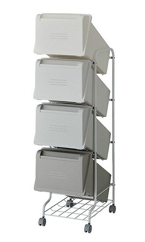 【メーカー直送】 縦型分別ゴミ箱 コンテナスタイル5 CS5-80 4段 カラーMX6 キャスター付 【送料無料】一部地域除く