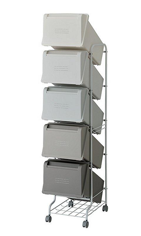 【メーカー直送】 縦型分別ゴミ箱 コンテナスタイル5 CS5-100 5段 カラーMX6 キャスター付 【送料無料】一部地域除く