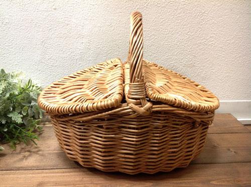 大人気のバスケット ウィッカーバスケット ピクニックバスケットS 推奨 10578ふた付きバスケット 直営限定アウトレット 収納箱 ピクニック 籐カゴ 開店セール1212
