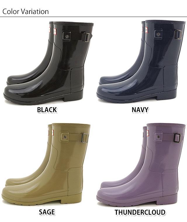 3eb1605b67e HUNTER hunter rain boots Lady's WOMENS ORIGINAL REFINED SHORT GLOSS women  original re-find short gross
