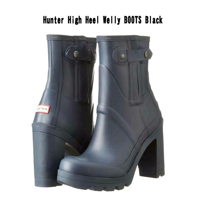 訳あり Hunter High Heel Welly BOOTS Black UK ブーツ ヒール ブラック 展示品