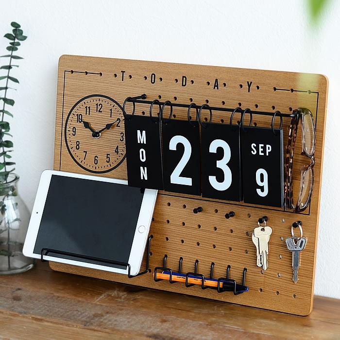 ペグボード 時計&日めくりカレンダー付きペグボード フック付き 有孔ボード パンチングボード 木目 セット 壁 カフェ インテリア おしゃれ 雑貨 北欧 新築祝い 箱入