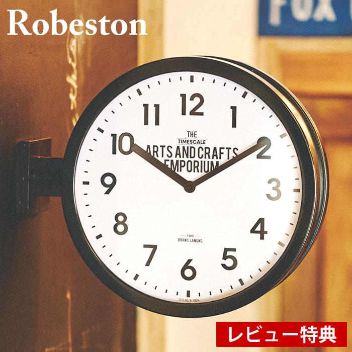 掛け時計 両面時計 ロベストン Robeston CL-2138 INTERFORM 壁掛け時計 置き時計 掛け置き兼用 ダブルフェイス ブラック スイープムーブメント インダストリアル インターフォルム おしゃれ 大きい 業務用 ギフト 新築祝い