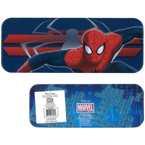 缶ペンケース 『1年保証』 スパイダーマン ブルー 待望 カンペンケース 商品表面にキズ ※輸入品の為 へこみあり
