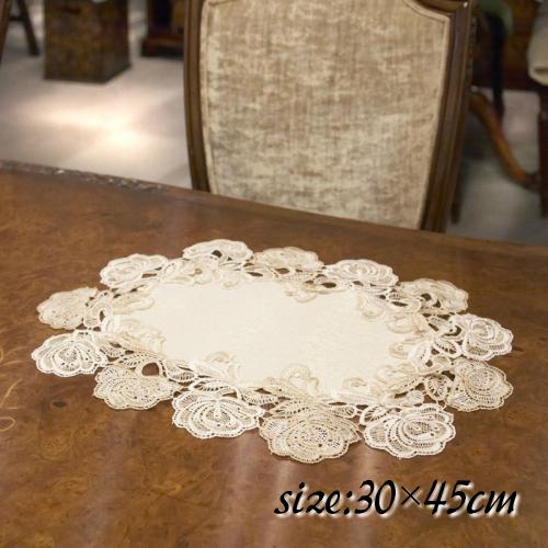 テーブルを素敵に彩るレースファブリック 即納 飾り物 綺麗 お洒落 専門店 可愛い インテリア テーブルセンター インテリアマット 30×45cm 花瓶敷 テーブルクロス おしゃれ レース Jane