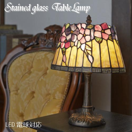 【5月中旬~予約】ステンドランプ クレマティス 花柄 卓上ライト 間接照明 アンティーク ランプ おしゃれ