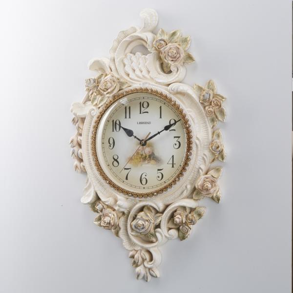 ウォールクロック フラワー おしゃれ 薔薇 ローズ 壁掛け時計 樹脂製 インテリア