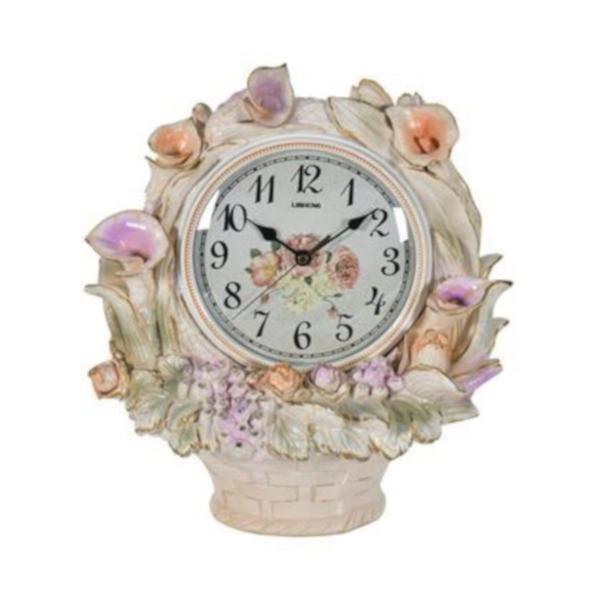 スタンドクロック フラワー 薔薇 ローズ おしゃれ 壁掛け時計 樹脂製 インテリア