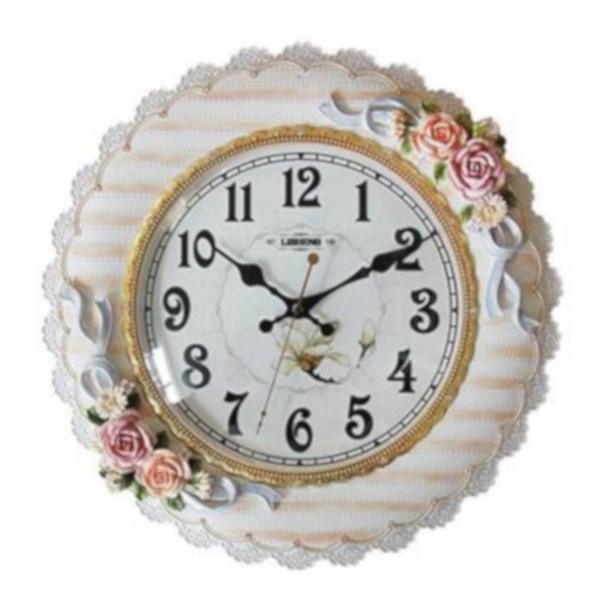 ウォールラウンドクロック フラワー 薔薇 バラ おしゃれ 壁掛け時計 樹脂製 インテリア