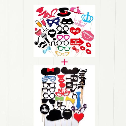 フォトプロップス 62点 セット 結婚式 二次会用 / おしゃれ パーティーグッズ セット / 帽子 メガネ ひげ キラキラ唇 リボン 吹き出し 文字 / 誕生日会 ウエディング バースデー パーティーに おすすめ 撮影小道具 Bセット( 送料無料 )