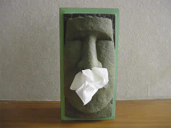 Funny do household goods-face white ティッシュケースモアイティシュ box (gray)