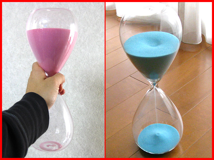 Hourglass 60 minutes | One hour | Glass | Interior | of beautiful sand -60 sand glass ≪ second party | Year-end party | Bingo | Premium≫